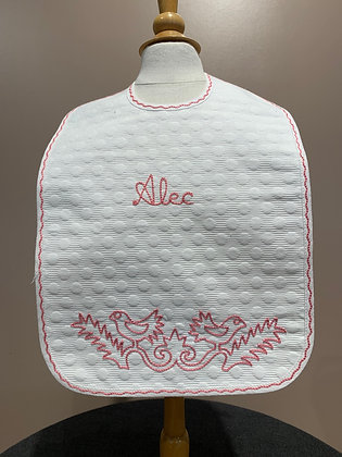 Baby Bib Embroidered with Birds