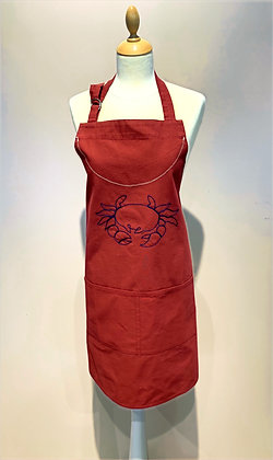 """Apron """"Crabe"""", Red Canvas embroidered Navy Blue"""