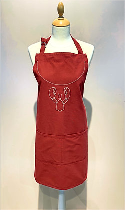 "Red Apron ""Homard"", ecru embroidery"