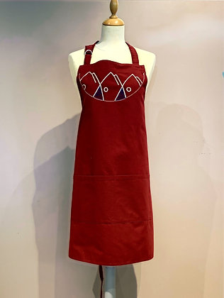 """Embroidered Apron """"Poissons"""" (Valérie Leroux), Burgundy"""