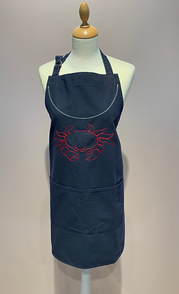 """Apron """"Crabe"""", Navy Blue Canvas embroidered Red"""