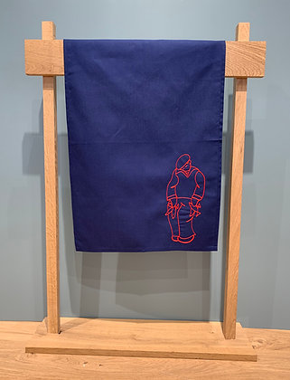 "Embroidered Tea Towel ""Pêcheur"""