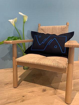 "Rectangular Cushion ""Poisson"": Blue"
