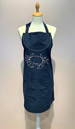 """Canvas Apron """"Crabe"""", Blue with Ecru embroidery"""
