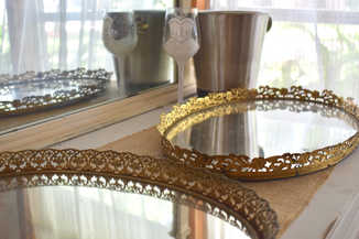 mirror serving plates on bridal suite buffet