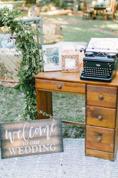 entry way table and decor, antique desk, typwriter