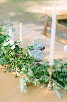 succulent garland, brass candlesticks