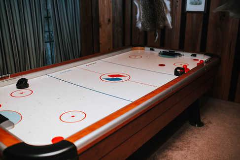 air hockey in groom suite and bunker