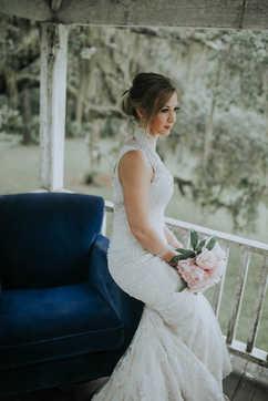 southern home wrap around porch bridal portraits