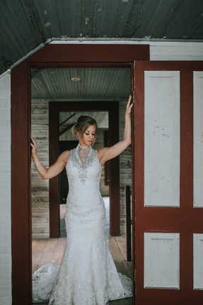 door frame bridal portraits