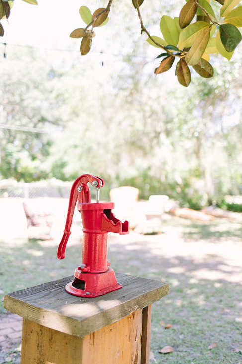 unique red water pump in large garden