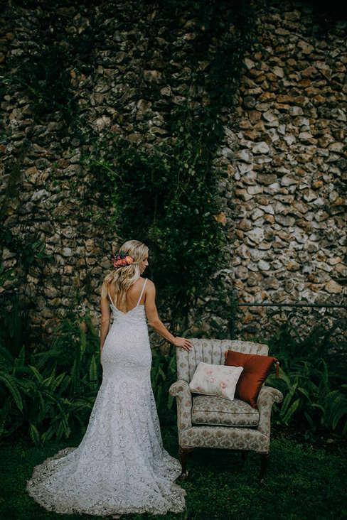 brick wall background bridal portraits