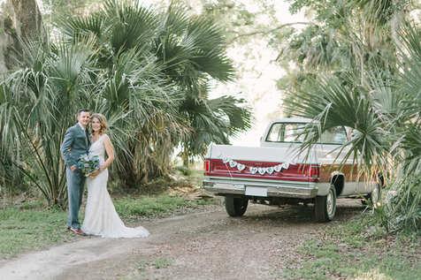 vintage bubba truck bride and groom portraits
