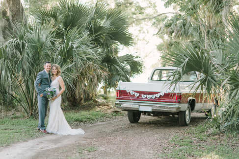vintage bubba truck bride and groom portraits