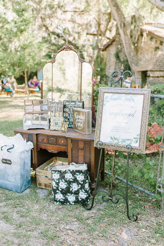 antique dresser, entryway, gift table