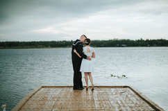 bride and groom dock pictures
