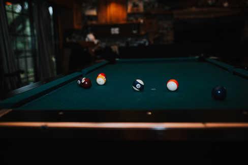 pool table in groom suite and bunker
