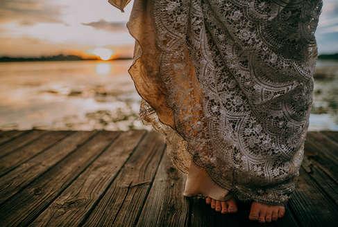 Detailed shoeless wedding portraits