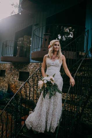 staircase wedding portraits