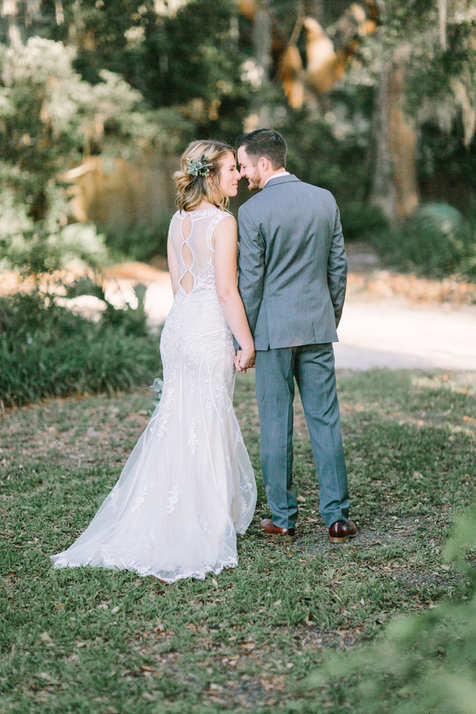forest bride and groom portraits