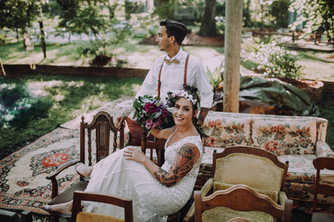 Eclectic boho bride and groom wedding pictures