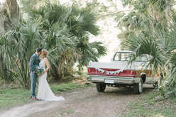 bride and groom portraits old truck