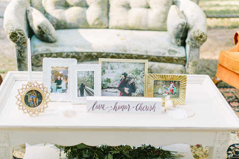 seating areas for wedding reception, picture frames in wedding