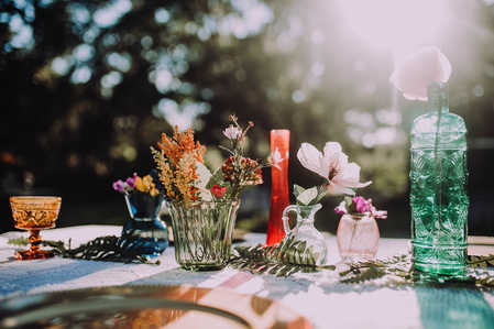 multi-colored boho centerpieces