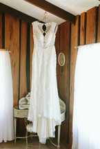 dress hanging in bridal suite