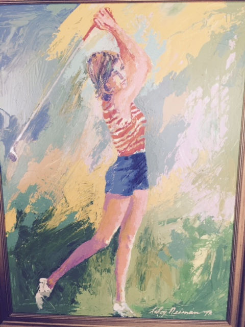 American Artist LeRoy Neiman creates a painting of LPGA Tour champion Jane Blalock.