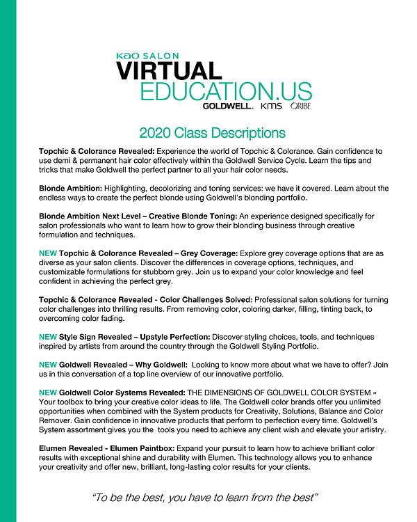 Goldwell Virtual Class Descriptions - Au