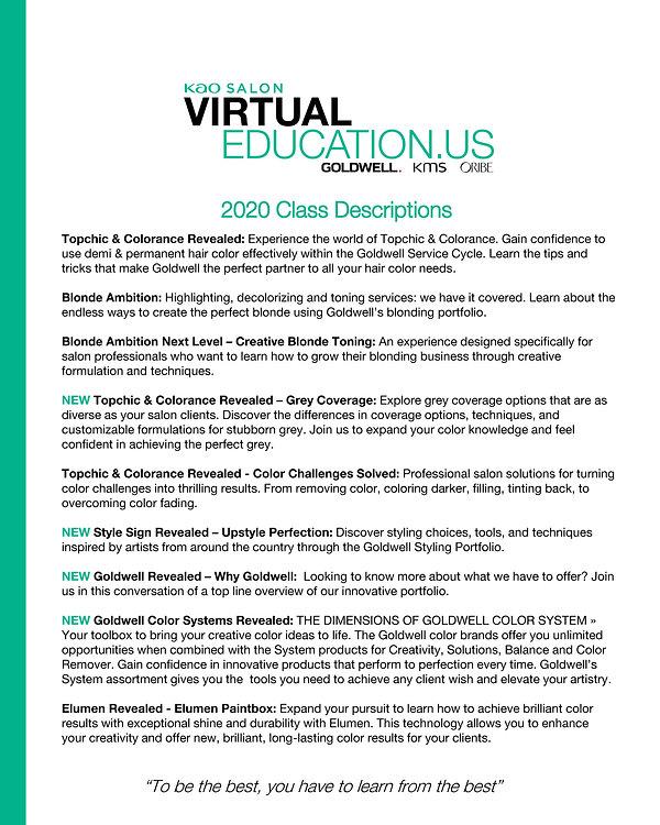 Goldwell Virtual Class Descriptions - Au