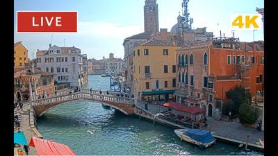 La vue sur le pont des flèches à Venise en live 24h/24.. Cliquez sur la photo pour lancer le live..