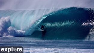 La vue sur la vague mythique de Pipeline à Hawaï en direct live.. Cliquez sur la photo pour lancer le live..