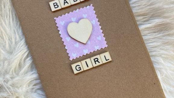 Baby Girl card, 17.5cm by 12.5cm