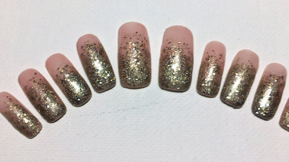 4, light pink with gold glitter tips