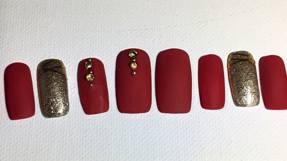5, Matt red with gold accents and bling