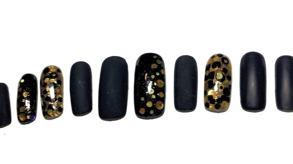 3, matt black with gold dots