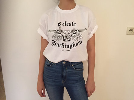 Unisex White T-Shirt, Celeste's Tattoo