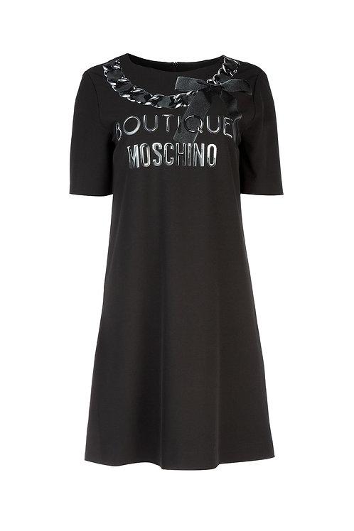 Vestido negro logo Moschino