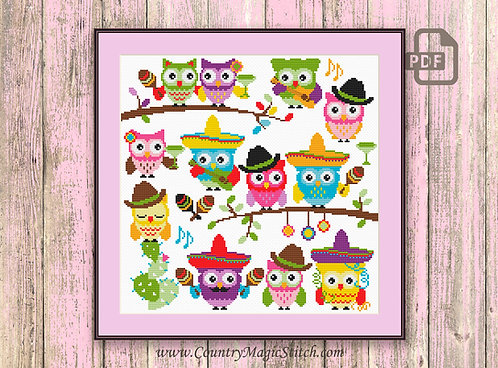 Cinco De Mayo Owls Cross Stitch Pattern #owl10