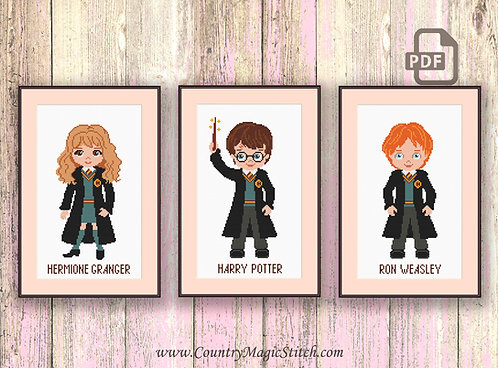 Little Wizards Cross Stitch Pattern #hp006