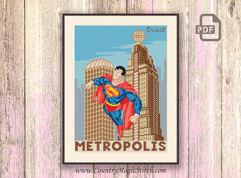 Visit Metropolis Cross Stitch Pattern #tv005