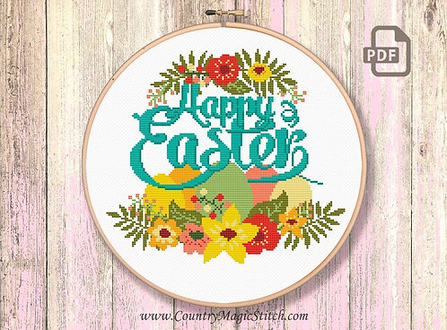 Happy Easter Cross Stitch Pattern #oth030