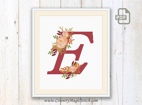 Monogram E Cross Stitch Pattern