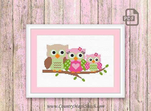 Cute Owls Family Cross Stitch Pattern #owl05