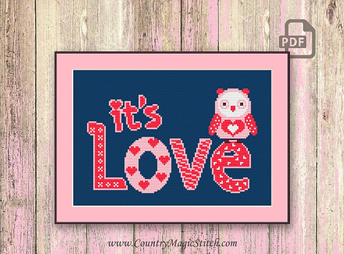 Its Love Cross Stitch Pattern, Heart Cross Stitch Pattern #v006