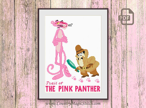 Trail of The Pink Panther Cross Stitch Pattern #tv013