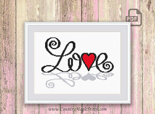 Love Cross Stitch Pattern #v004
