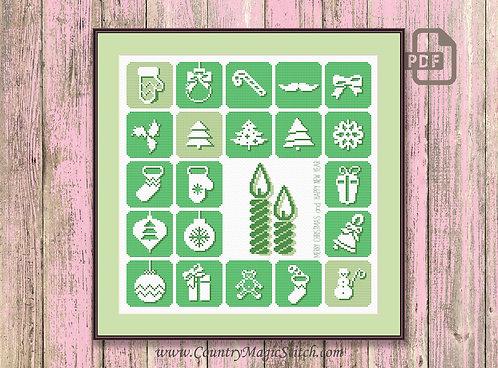 Merry Christmas - Green Panel Cross Stitch Pattern #ch013